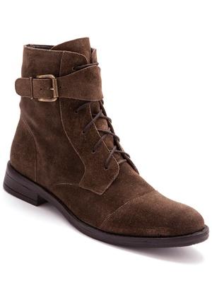 Boots cuir à zip et lacet