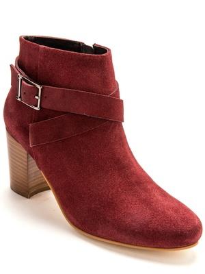 Boots cuir velours à boucle