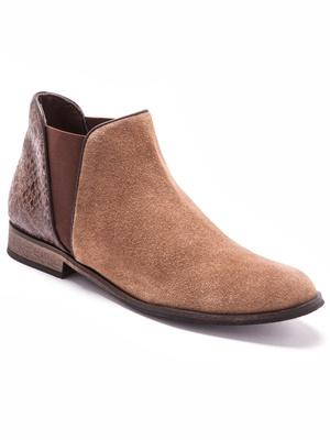 Boots en cuir velours grande largeur