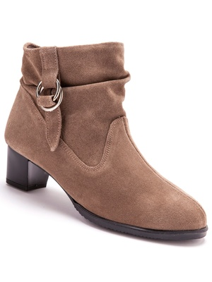 Boots en cuir velours, talon large