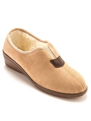 Pantoufles fourrées laine majoritaire
