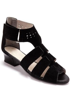 Sandales cuir velours, largeur confort