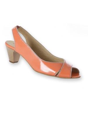 Sandales en cuir verni à biais contrasté