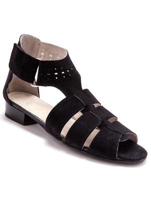 Sandales en cuir velours, grande largeur