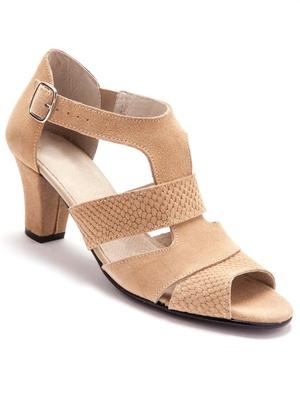 Sandales cuir velours, arrière fermé, la