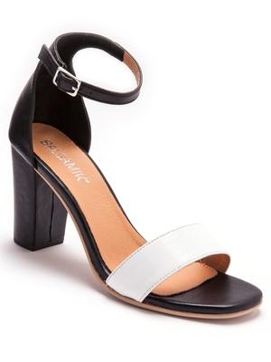 Sandales cuir bicolore