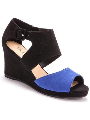 Sandales bicolores, aspect velours
