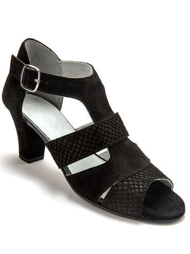 Sandales cuir velours grande largeur