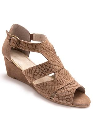 Sandales cuir velours à boucle