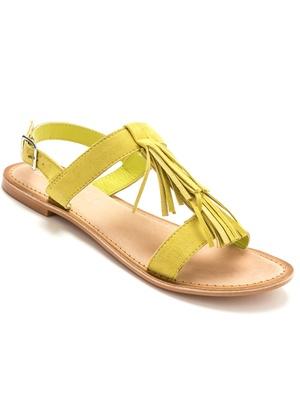 Sandales plates, frangées