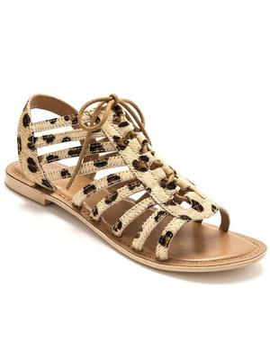 Sandales cuir velours à lacets