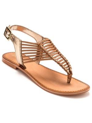Sandales plates en cuir