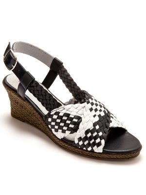 Sandales tressées, grande largeur