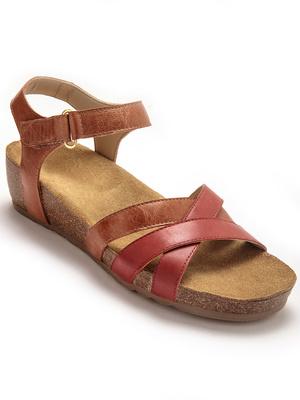 Sandale bicolores, talon liège