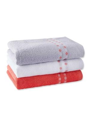 Lot de 3 serviettes éponge liteau à pois