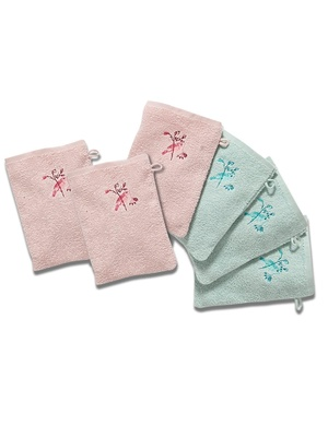 Lot de 6 gants de toilette, pur coton