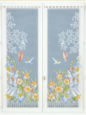 Paire de rideaux droit Fleurs et oiseaux