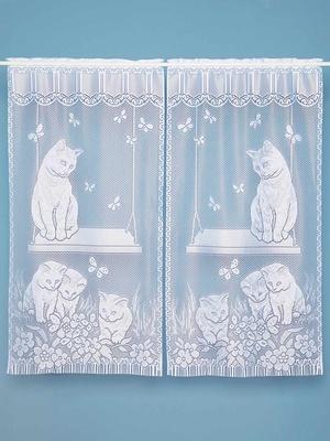 Paire de vitrages, motif chats