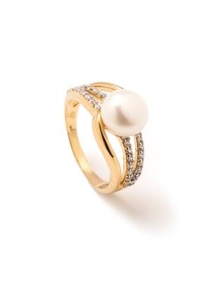 Bague perle et zirconias, plaqué or
