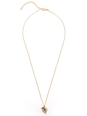 Pendentif saphir chaîne 45cm plaqué or