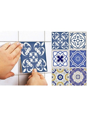 Lot de 12 stickers, Carrelage arabesques