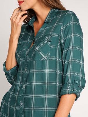 Chemise à carreaux, manches retroussable
