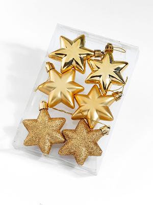 Lot de 6 étoiles dorées à suspendre