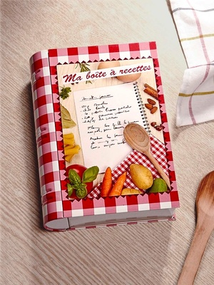 Boîte à recettes forme livre, Elicuisine