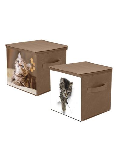 Lot de 2 boîtes de rangement Chats