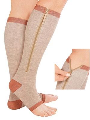Chaussettes contention zippées, cuivre