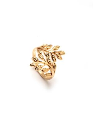 Bague motif feuilles plaqué or
