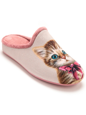 Mules velours Chat