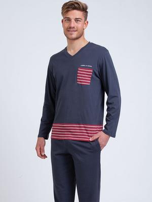 Pyjama col V Rayures